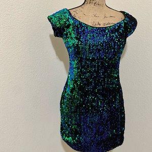 Blue /Green sequined dress